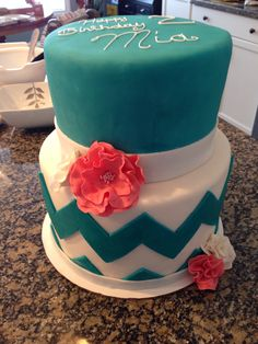 Sweet 16 birthday cake navy blue and white fondant chevron and