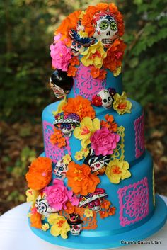 Day of The Dead Celebration Bright Orange, Bright Yellow, Hot Pink, Sky Blue - Viva la Mexico - Day Of The Dead Cake, Day Of The Dead Party, Day Of Dead, Pretty Cakes, Beautiful Cakes, Amazing Cakes, Cake Day, Eat Cake, Cupcakes