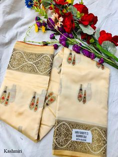 Kashmiri Soft Silk Saree, Such Saris women use to wear on Party Wea and Festival Wear at Online Lowest Wholesale Price Shipping Worldwide Navratri Dress, Indian Lehenga, Soft Silk Sarees, Festival Wear, Beige Color, Blouses For Women, Handmade Items, Sari, Weaving