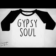 "For those whom wander, but are not lost, we bring you, ""Gypsy Soul"", as I've been called a time or two in my life!  This gender neutral baby, toddler, & #kids #boy or #girl shirt makes an excellent gift for any child in your life. Available in 3-6 month sizes through youth size 6 (should fit up to a 7/small 8 year old).  This particular design will come on an adorable, unisex, black raglan sleeved baby or #toddler baseball tee (as pictured)!  Be the best #gift - giver at the #babyshower with…"