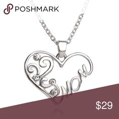MOM Heart Necklace Silver tone filigree design Mom heart pendant and chain with crystal accents.  Remember mom on Mother's Day.  Matching ring in another listing in my closet.  NWT Jewelry Necklaces