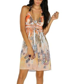 Look what I found on #zulily! Orange Sublimation Halter Dress - Women #zulilyfinds