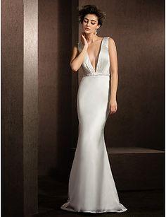 Trumpet/Mermaid V-neck Sweep/Brush Train Satin Chiffon Wedding Dress