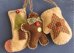 Country Christmas Felt and Fabric Set - Stocking, Mitten and Gingerbreadman - a real Christmas treat!