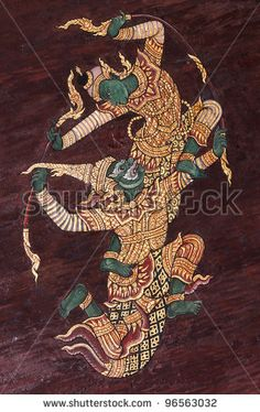 stock photo : Wall art painting about Ramayana epic story, vintage traditional Thai style art painting on temple.