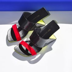 e7b2a387f X Sandal Black and White Mix + Neon Red