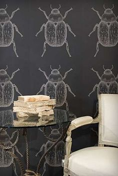 Beetle Wallpaper - With simple and sophisticated furniture, it's always fun to experiment with wall treatments as bold as this beetle wallpaper. Available in fou. Painting Wallpaper, Fabric Wallpaper, Wall Wallpaper, Eclectic Wallpaper, Funky Wallpaper, Handmade Wallpaper, Temporary Wallpaper, White Wallpaper, Chinoiserie