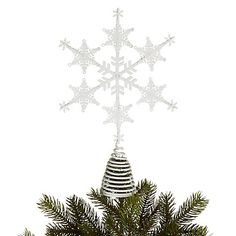 Buy John Lewis Snowshill Snowflake Tree Topper, White Online at johnlewis.com