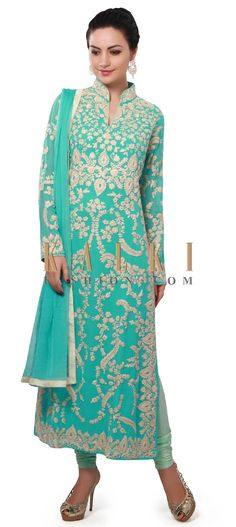 Buy Online from the link below. We ship worldwide (Free Shipping over US$100). Product SKU - 313778. Product Price - $179.00. Product link - http://www.kalkifashion.com/blue-straight-suit-embellished-in-thread-embroidery-only-on-kalki.html