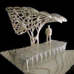 parametric generative design: New Gateway structure for Brunel University / Minimaforms Parametric Architecture, Parametric Design, Tree Structure, Arch Model, Digital Fabrication, 3d Prints, Square, Organic Shapes, Public Art