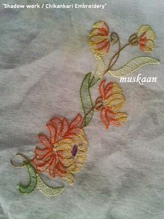 Shadow Work / Chikankari Embroidery on an Organdy saree ... muskaan's T*I*P*S: Embroidery 2 : Shadow Work