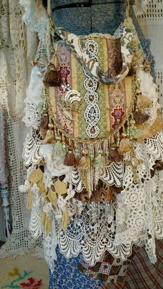Large Handmade Gypsy Cross Body Bag Tote Vintage Lace & Fabric Boho Purse