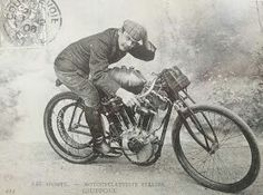 Italian racerGiosue Giupponewas a pioneer professional rider on the Peugeot team, racing both cars and motorcycles. Here he rides a 1.7liter track-racing'Monster'c. 1906