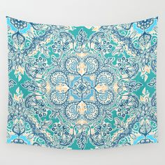 Gypsy Floral in Teal & Blue Wall Tapestry