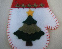 Christmas Tree White Felt Mitten Ornament/Gift Card Holder - HANDMADE BY ME