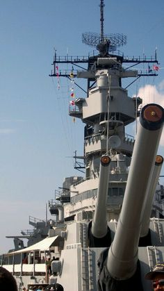 USS Missouri, truly a force to be reckoned with. Japan surrendered WW2 on her decks. Those decks hold the largest cannons (16in or 410mm) ever to see action.