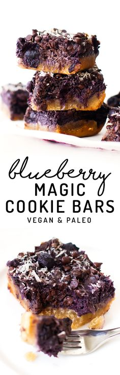 Sub 2 cups sweet potato or mashed pumpkin for bananas. Sweet blueberries give these vegan and paleo magic cookie bars a pop of purple and extra fruit flavor, while banana keeps them easy, healthy, and refined sugar-free! Paleo Dessert, Healthy Dessert Recipes, Gluten Free Desserts, Vegan Recipes, Protein Desserts, Paleo Vegan, Cookie Desserts, Dessert Bars, Pie Recipes