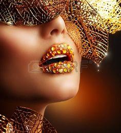 Luxus Arany smink szép professzionális Üdülés Make-up Stock fotó - 16216705