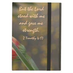 Floral iPad Air, Bible Verse about God's Strength; beautiful pink gerbera daisy on the full picture when case is opened like a book