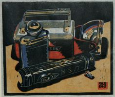"""Torches"". Four block Lino print. 26 x 22cm. 2012. Steven Hubbard."