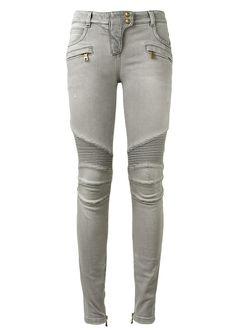 Balmain Jeans :: Balmain light grey biker denim | Montaigne Market