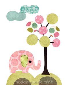 nursery Art, Nursery decor, elephant art print, kids room art, wall art, baby nursery -  girl elephant. $14.00, via Etsy.