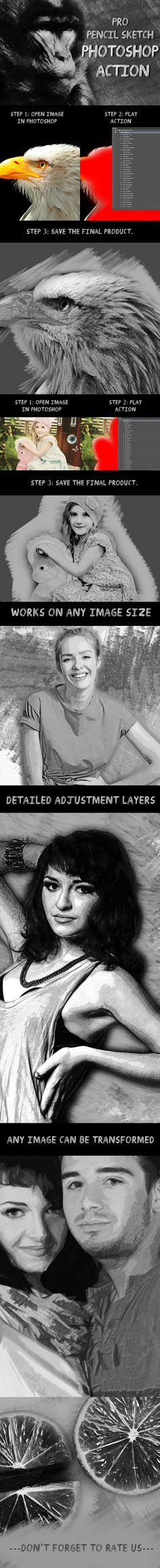 Pro Pencil Sketch Photoshop Action - Photo Effects Actions