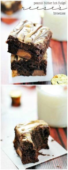 Peanut Butter Hot Fudge Reese's Brownies | www.somethingswanky.com