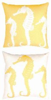 Indoor Outdoor Beach Decor Pillow - Nautical Seahorse