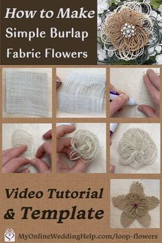Make burlap flowers the easy way. And there are two ways to make the bottom, leaf layer. Burlap Rosettes, Burlap Fabric, Burlap Flowers, Diy Flowers, Fabric Flowers, Burlap Lace, Burlap Wreath, Paper Flowers, Burlap Projects