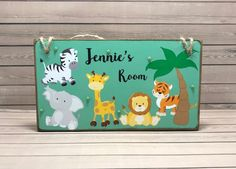 Excited to share the latest addition to my #etsy shop: Personalised Jungle Animal Room Sign, Kids Name Plaque, Bedroom Door Plaque, Safari Animal Name Plaque, Animal Personalised Door Sign