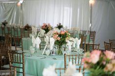 Aqua and Pink Wedding Decor 550x366 Country Garden Party Wedding in Maryland: Aviva + Avery