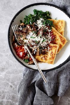Crispy Polenta with Spicy Tomato Sauce, Sautéed Kale & Mushrooms — Cooking with Cocktail Rings - mushroom recipes Kale Mushroom Recipe, Mushroom Recipes, Polenta Recipes, Vegan Recipes, Cooking Recipes, Cooking Games, Cooking Classes, Cooking Ideas, Polenta Cakes