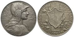 Schützenmedaille 1901 von Hans Frei (Basel). Auf das Eidgenössische Schützenfest in Luzern Basel, Coins, Personalized Items, Lucerne, Crests, Switzerland, Rooms
