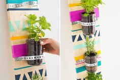 Bring in some herbs to freshen up (and perfume!) your space. If you can't use nails, this tall DIY'd planter will look equally as good leaning against a wall
