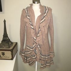 Ruffle sweater Brown ruffle cardigan 68% lamb wool 10% angora rabbit hair 20 -% nylon  blue and grey colors as well on ruffle and sleeve great condition like new bought but never worn Anthropologie Sweaters Cardigans