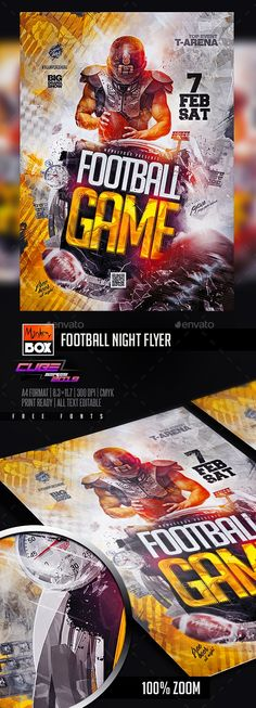 Flyer Design Templates, Flyer Template, Sports Flyer, Football Football, College Football, Freshman, Game Night, American Football, Games
