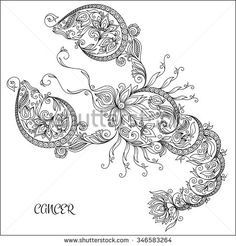 Hand Drawn Line Flowers Art Of Zodiac Cancer Horoscope Symbol For Your Use Tattoo Coloring Books Set Henna Mehndi Ethnic Zentangle