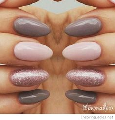 My lovely gel nails ith pink and grey | Inspiring Ladies