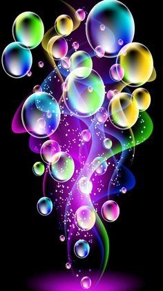 Purple, blue, green, pink & yellow Bubbles