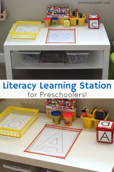 Station for Preschoolers Literacy Learning Station for Preschoolers. A fun, hands-on way to develop literacy skills in preschoolers!Literacy Learning Station for Preschoolers. A fun, hands-on way to develop literacy skills in preschoolers! Prek Literacy, Literacy Skills, Early Literacy, Literacy Strategies, Preschool Rooms, Preschool Centers, Writing Center Preschool, Writing Preschool Activities, Writing Center Organization