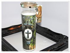 Cross Shield Gate Candle | Cross Photo on Glass by theRDBcollection, $24.00