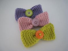 Little Crochet Hair Bows with Buttons Set of 3 by JSoDetCrochet