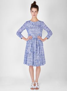 Couverture and The Garbstore - Womens - Minä Perhonen - Ripple Marks Dress Dresses For Work, Dresses With Sleeves, Fashion Dresses, High Neck Dress, Street Style, My Style, Long Sleeve, Pretty, Nautical