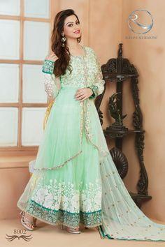 Soft Pista Jacket Style Long Anarkali Salwar Kameez