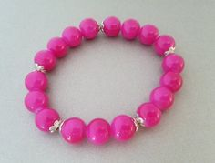 Wonderful fuchsia glass beads bracelet with silver spacers great gift idea for her #weddingbox #gifts