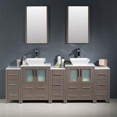 "Torino 84"" Double Modern Bathroom Vanity Set with Mirror"