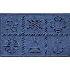 WaterGuard Nautical Grid Indoor Outdoor Mat - 24'' x 36'', Blue (Navy)