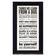 Things We Learn From A Dog Framed Print