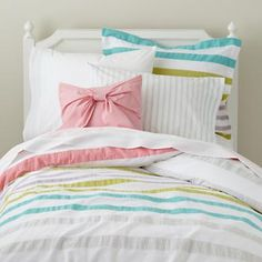 girls bedding - love the color scheme and all of those stripes!